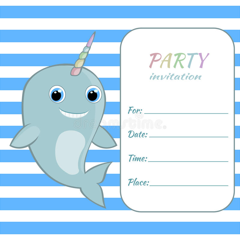 Children Birthday Party Invitation Card Template Baby Narwhal With ...