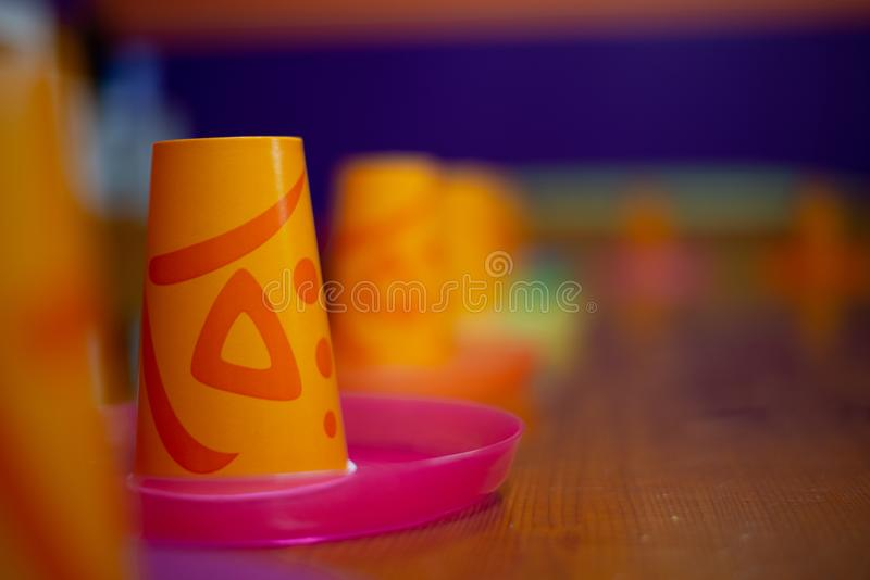 Children birthday party plastic cups royalty free stock photo