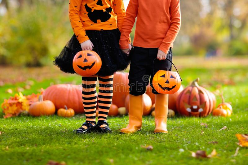Kids with pumpkins in Halloween costumes. Children in black and orange witch costume and hat play with pumpkin and spider in autumn park on Halloween. Kids trick royalty free stock photography
