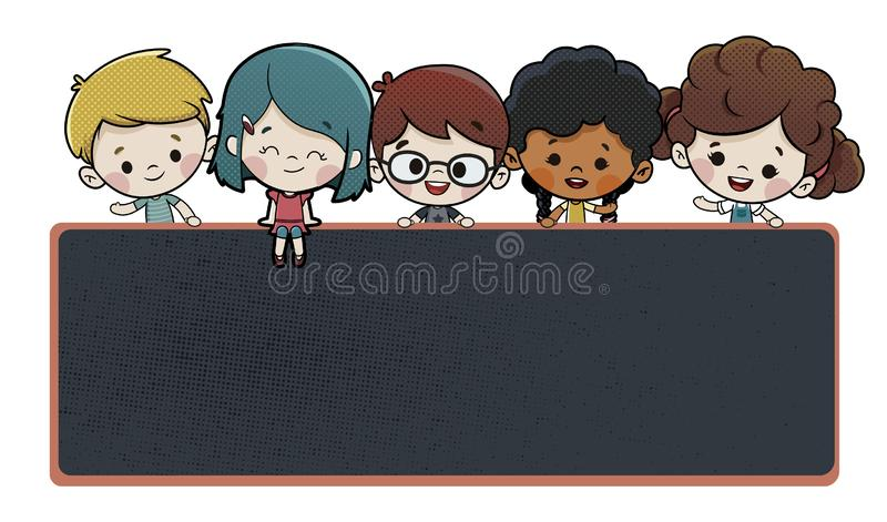Children On A Blackboard At School. An illustration of a group of diverse children on and behind a blackboard at school stock illustration
