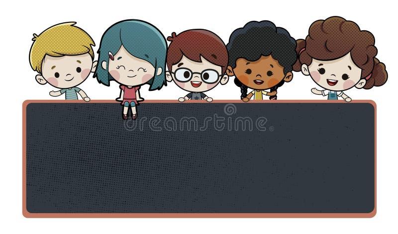 Children On A Blackboard At School stock illustration