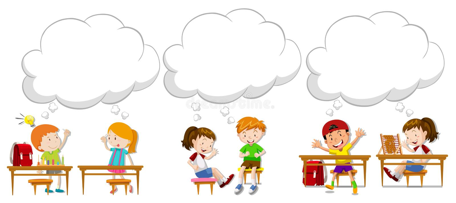 Children with blank speech bubbles vector illustration
