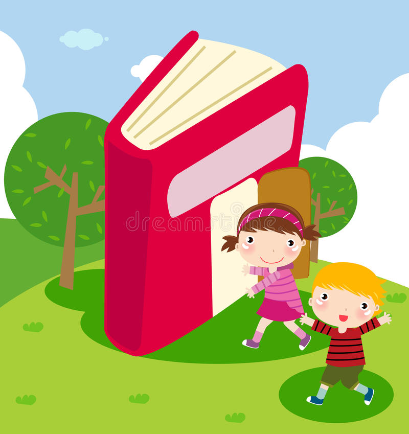 Children and book. Illustration of children and book vector illustration