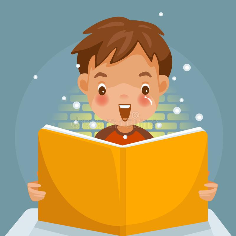 Children book. Children Reading a book. boy Surprise and grin. light is shining brightly with book. Children`s Learning Concept.Vector illustration, cute style vector illustration