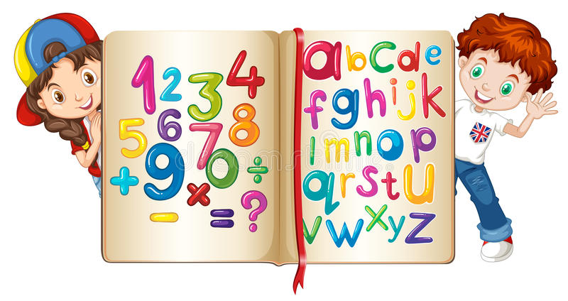 Children with book of numbers and alphabets. Illustration royalty free illustration