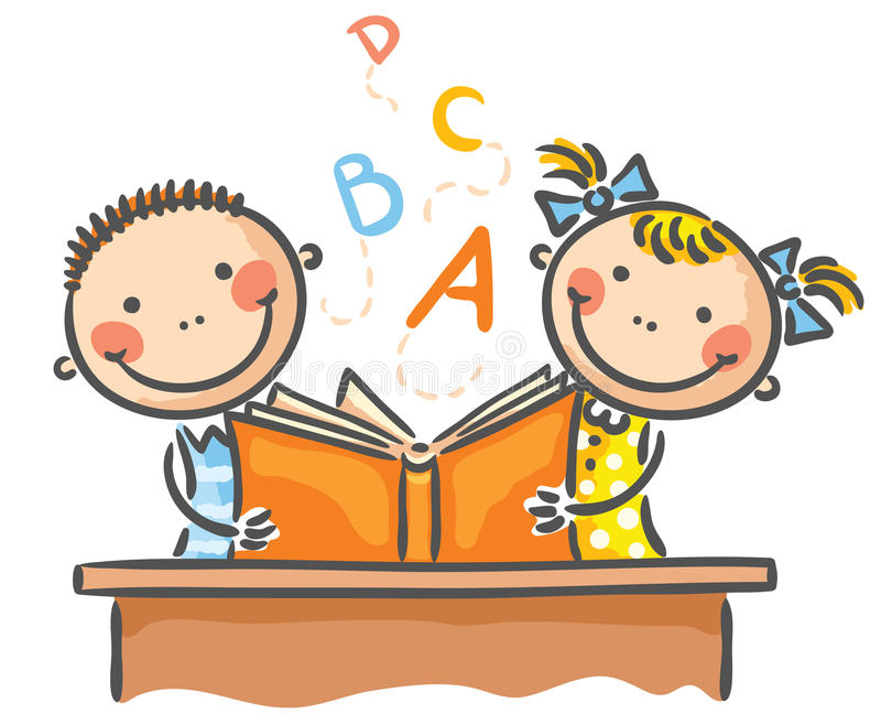 Children with a book. Children reading a book together royalty free illustration