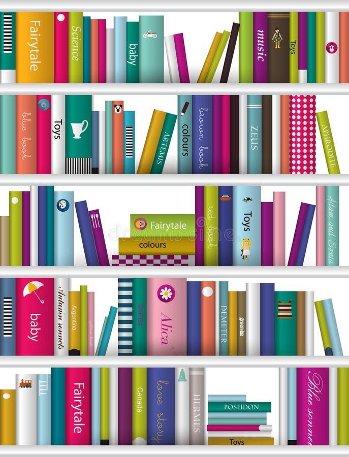 Children book shelf. Children color book shelf. Vector background vector illustration