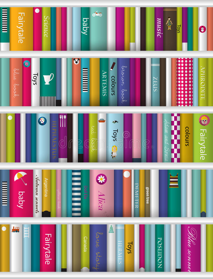 Children Book Shelf. Stock Vector
