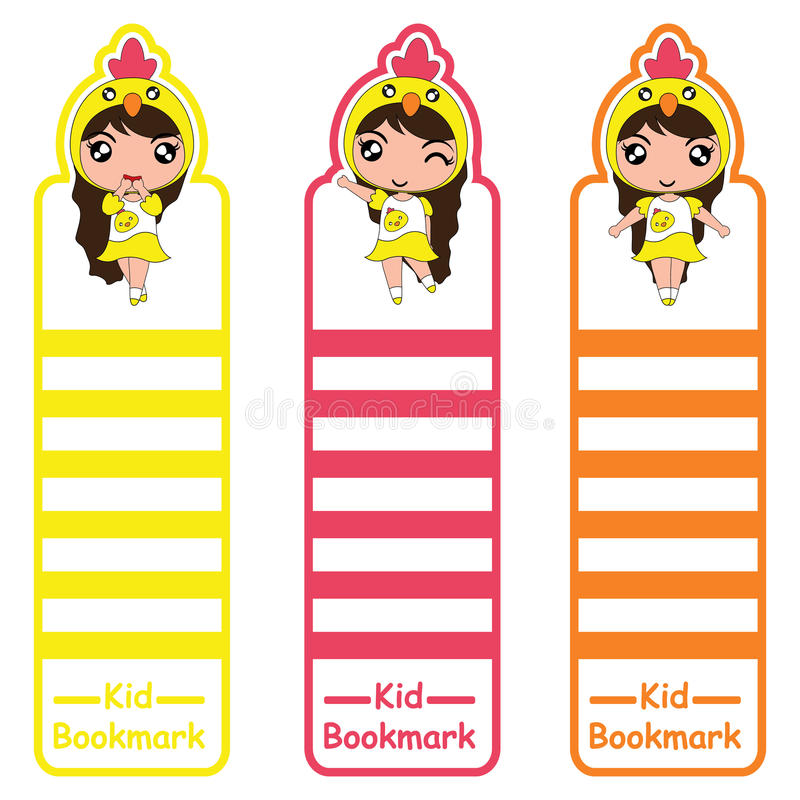 Free Children Bookmark Cartoon Illustration With Cute Chick Girls On Colorful Style Suitable For Kid Bookmark Design Royalty Free Stock Photos - 97587438