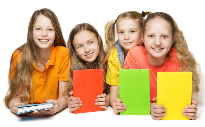 Children Books, Kids Girls Group Holding Book Cover royalty free stock photo
