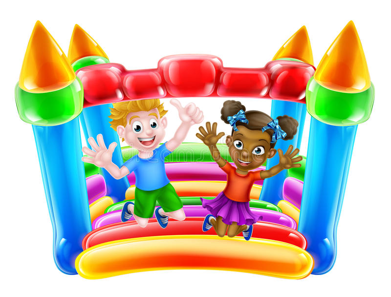 Children on Bouncy Castle. Cartoon boy and girl playing on a bouncy castle stock illustration