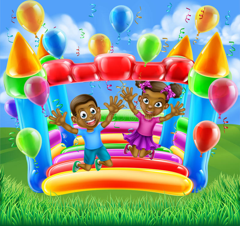 Children on Bouncy Castle. A happy boy and girl bouncing on a bouncy castle vector illustration