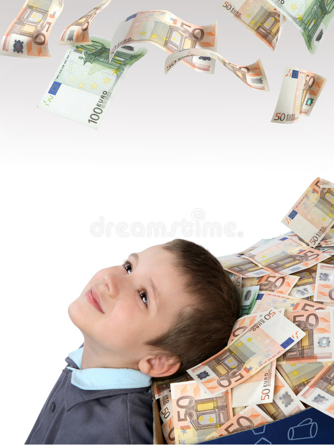 Download Children And Box With Money Stock Photo - Image: 5507056