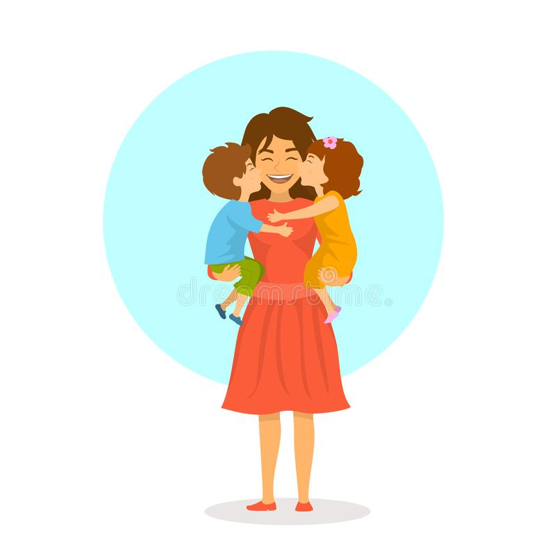 Children boy and girl, daughter and son kissing hugging their mom, happy mothers day stock illustration