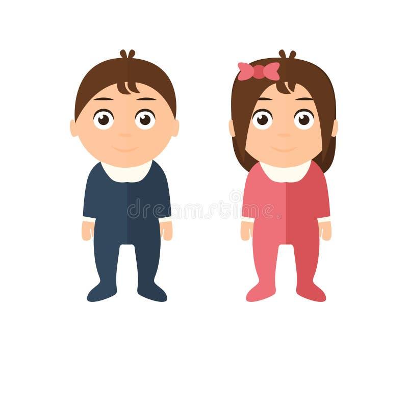 Children boy and girl. Flat style . Children boy and girl. Flat style. Vector illustration vector illustration