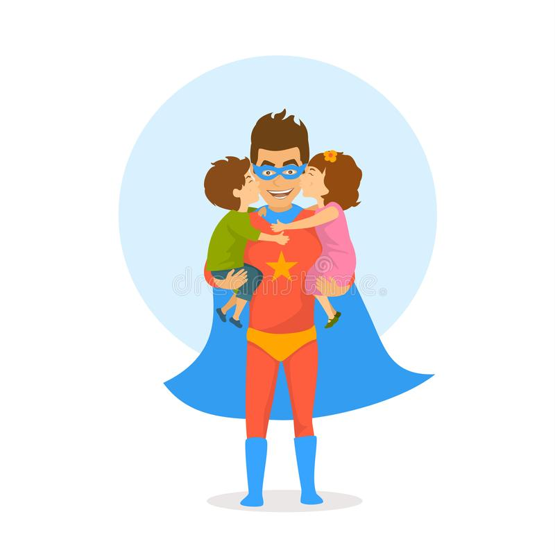 Children boy and girl kissing hugging congratulating dad dressed as superhero with happy fathers day. royalty free illustration