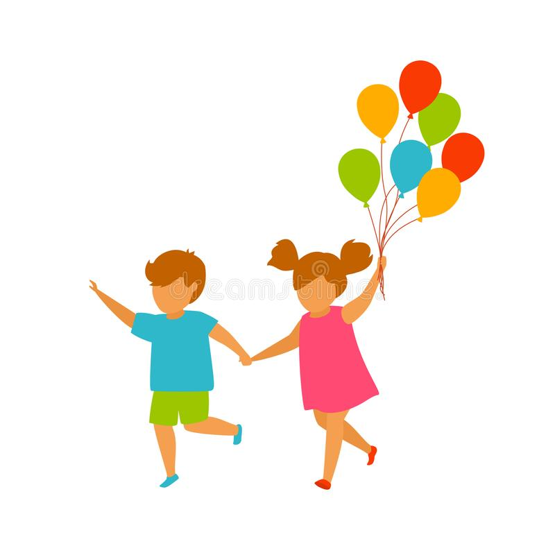 Children, boy and girl running holding hands with balloons stock illustration
