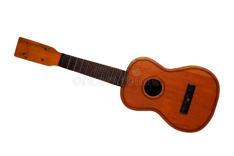 Children brown guitar without strings isolated on white background. Music and everything else stock images