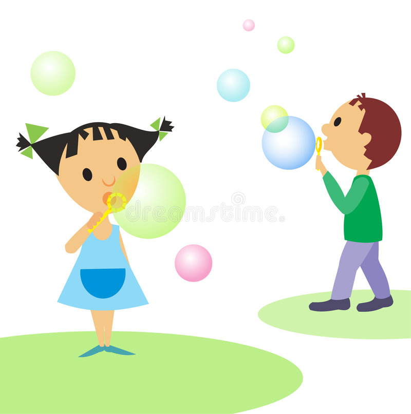Children-and-bubbles stock illustration