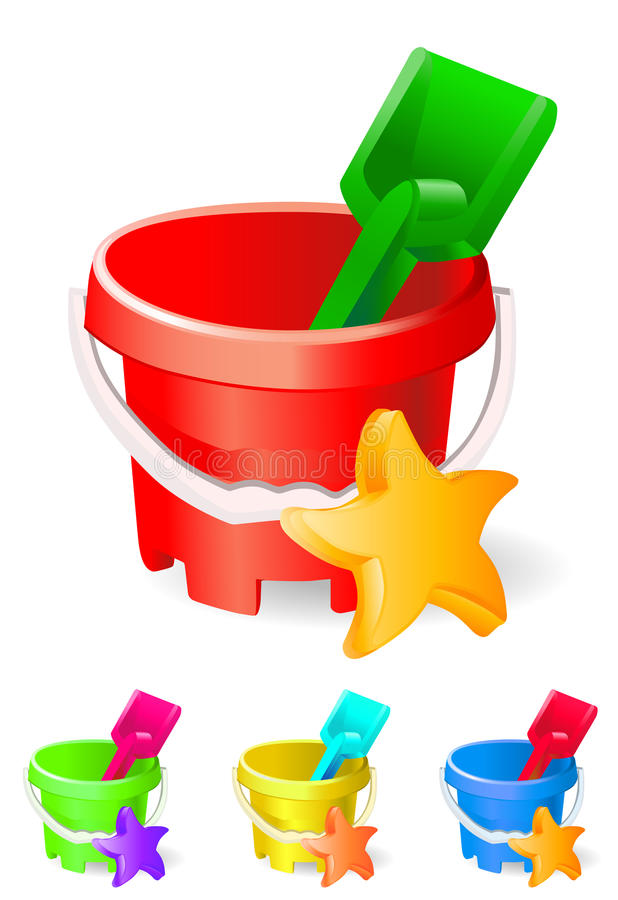 Children Bucket And Toys Royalty Free Stock Photography