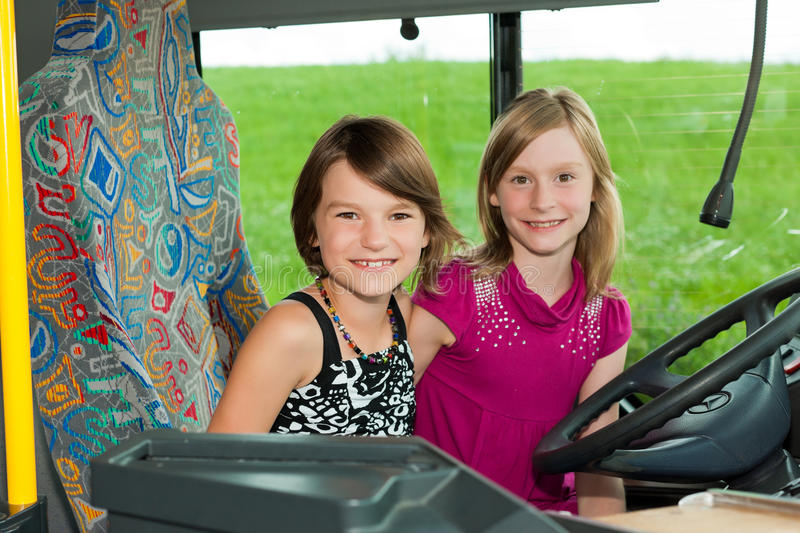 Children In A Bus Stock Images