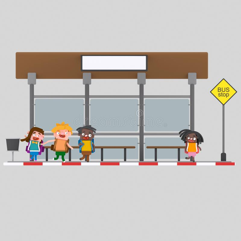 Children in bus stop .3D royalty free illustration