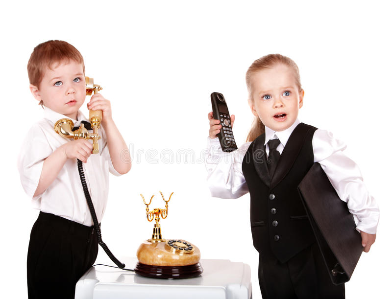 Download Children In Business Suit With Telephone. Royalty Free Stock Photos - Image: 14719818