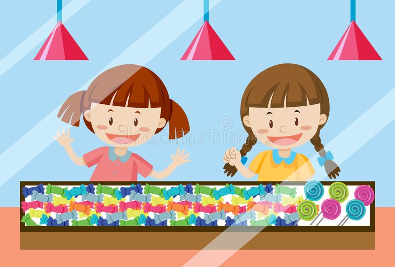 Children buying sweet candy vector illustration
