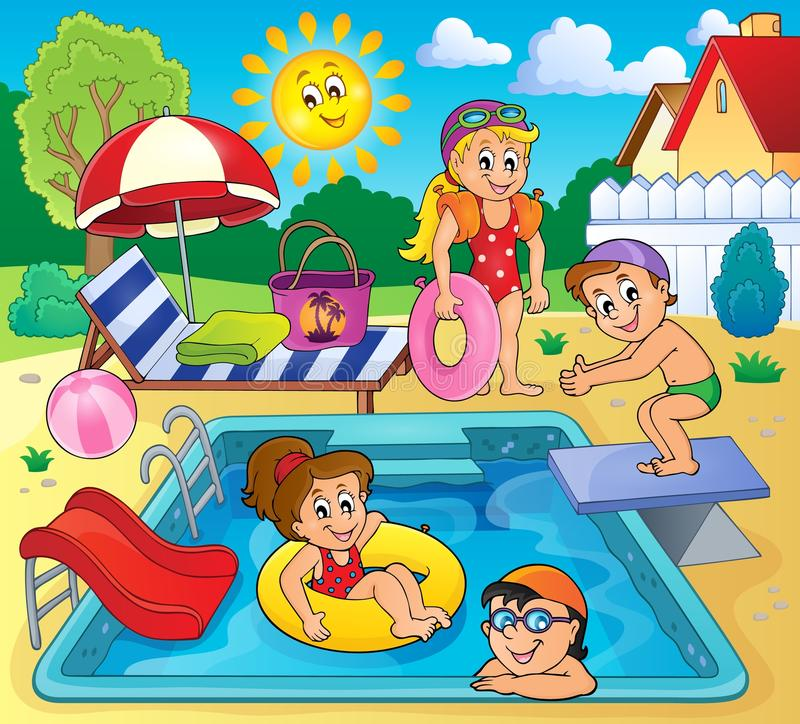 Free Children By Pool Theme Image 2 Stock Images - 73032544