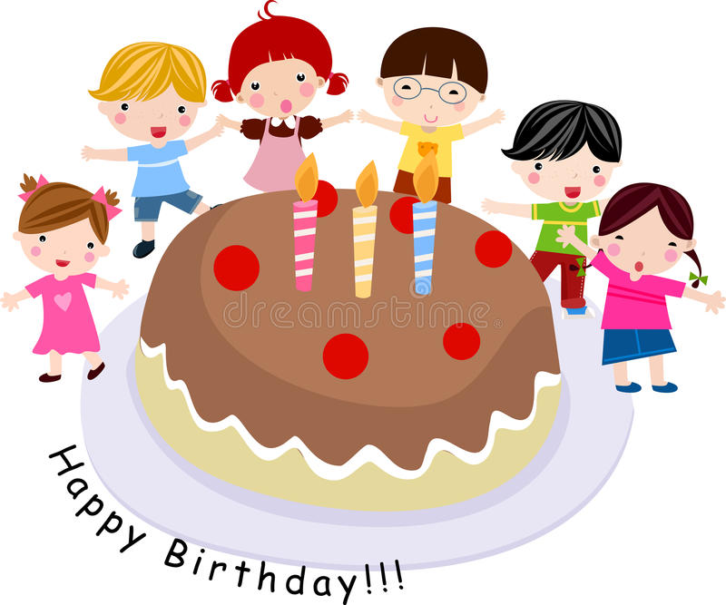Download Children with a cake stock vector. Illustration of childhood - 14543937