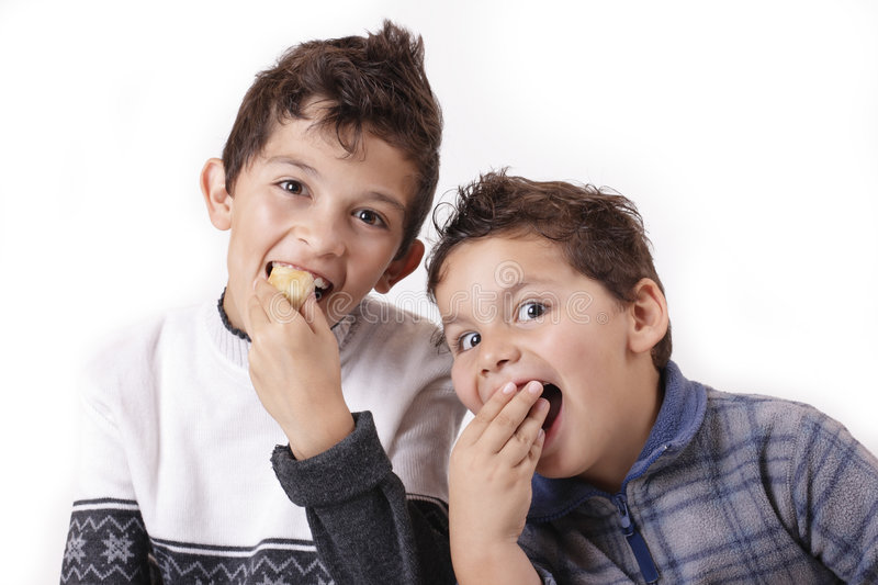 Children and cakes royalty free stock photo
