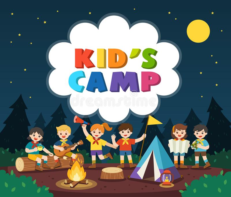 Children camping out in the park. Camping kids concept. Summer camp education advertising. stock illustration