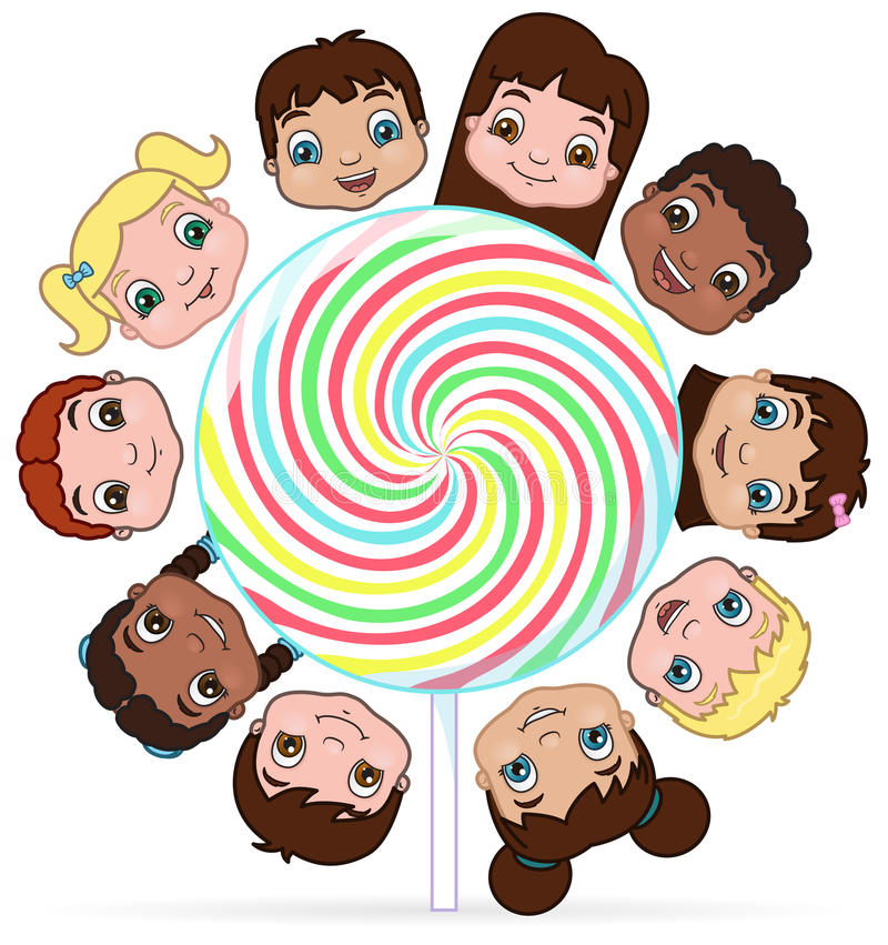 Children and candy. This is an illustration of a diverse group of children sharing a lollipop royalty free illustration