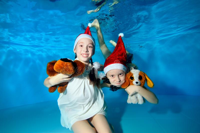 Children in caps of Santa Claus are swimming and playing underwater in the pool, holding a toy dog, looking at the camera. stock photos