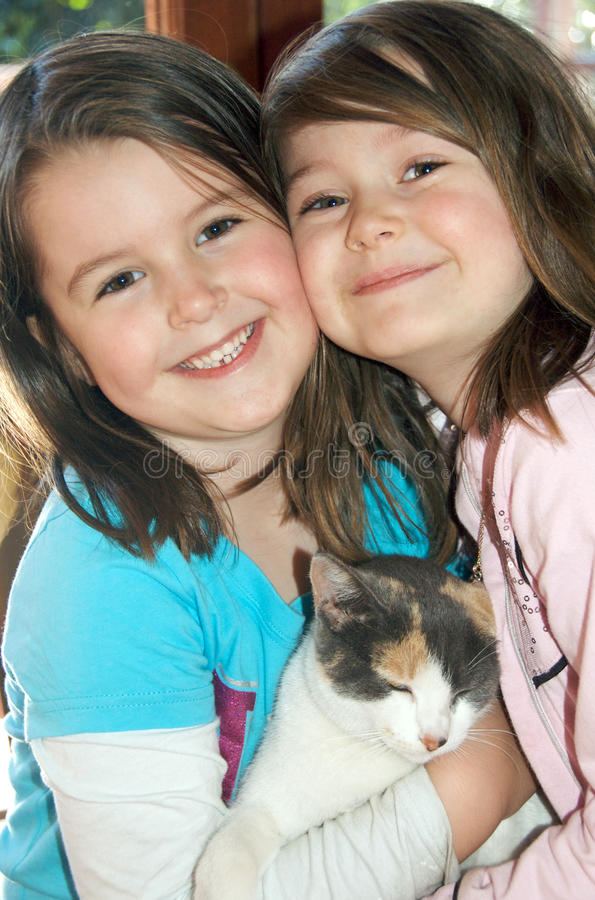 Download Children With Cat Royalty Free Stock Image - Image: 15572516