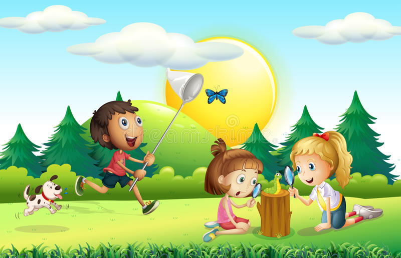 Children catching butterfly in the garden royalty free illustration