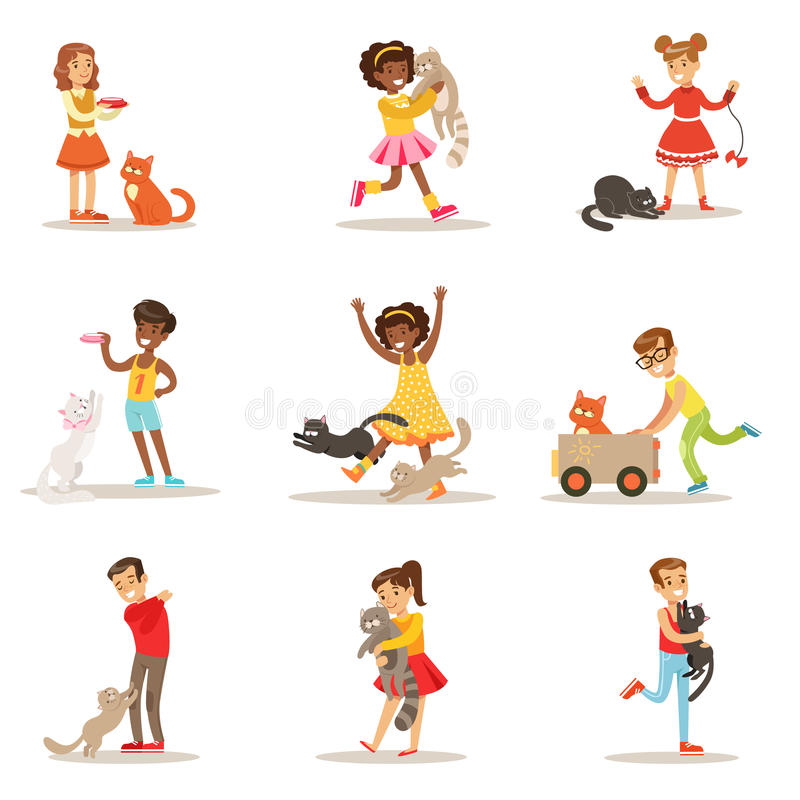 Children And Cats Illustrations Set With Kids Playing And Taking Care Of Pet Animals royalty free illustration