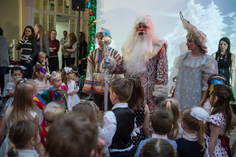Children celebrate Christmas royalty free stock images