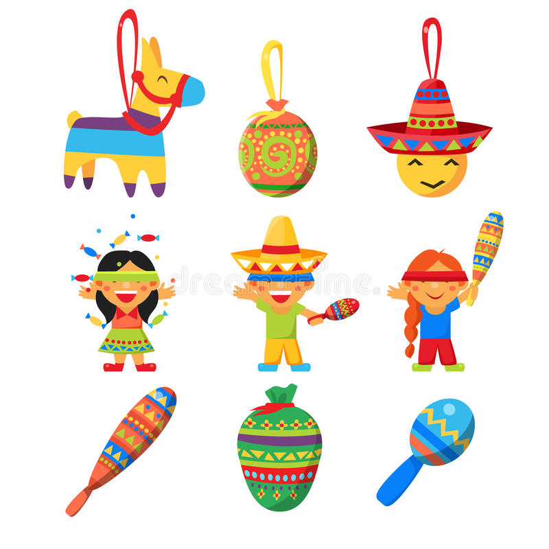 Children celebrate Posada, breaking the traditional donkey Pinata play vector stock illustration