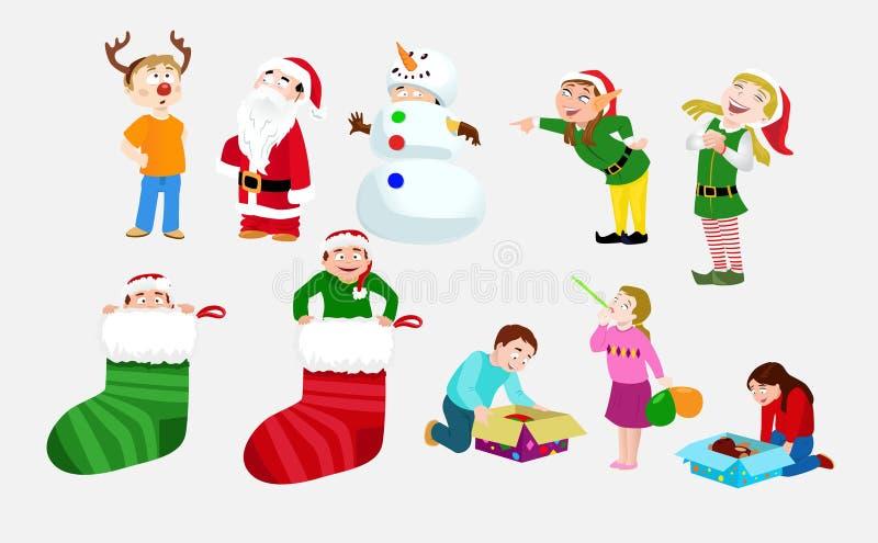 Children Celebrating Christmas royalty free illustration