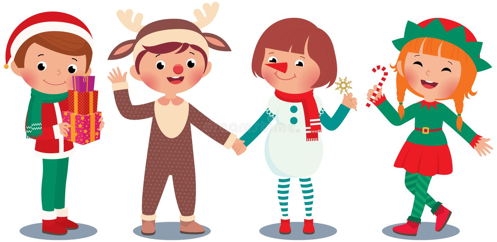 Children celebrating Christmas in Christmas Costumes royalty free illustration