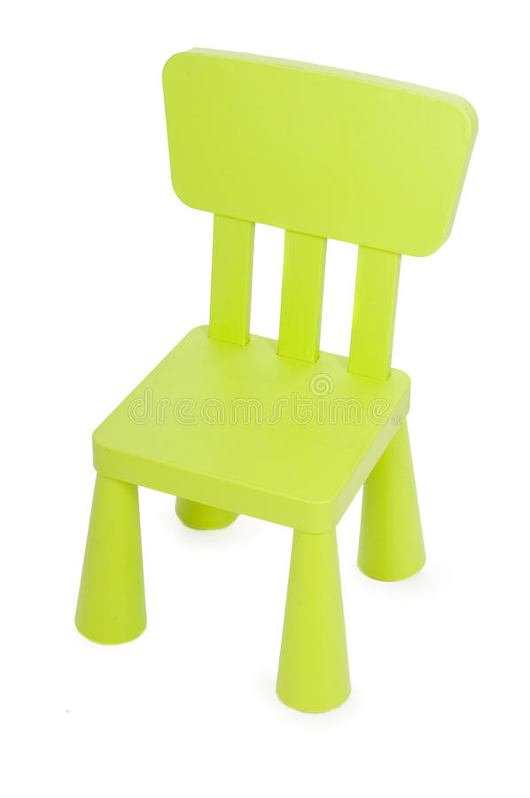 Children chair isolated in white. Green children chair isolated in white stock photo