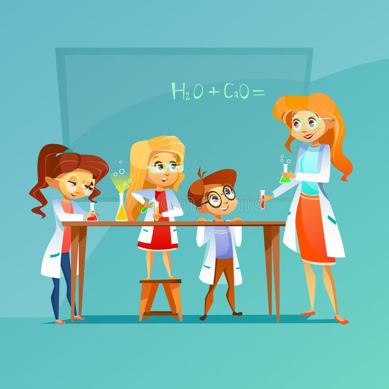 Children at chemistry class illustration of pupils and teacher with chemical formula on blackboard cartoon design. Children at chemistry lesson illustration vector illustration