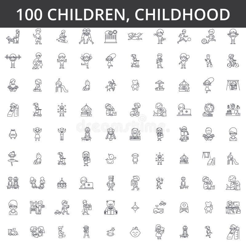 Children, childhood, preschooler, newborn, kid health, playing games, kindergarten, teenager lifestyle line icons, signs. Children, childhood, preschooler vector illustration