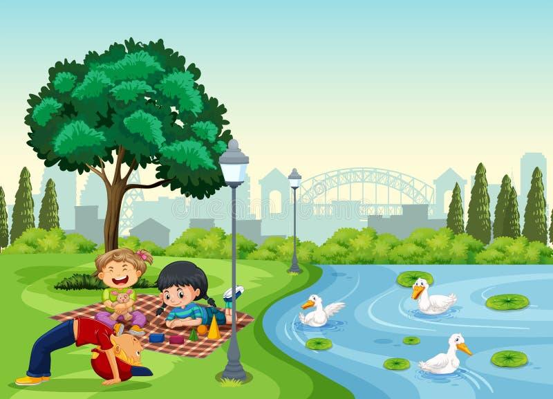 Children chilling at the park. Illustration vector illustration