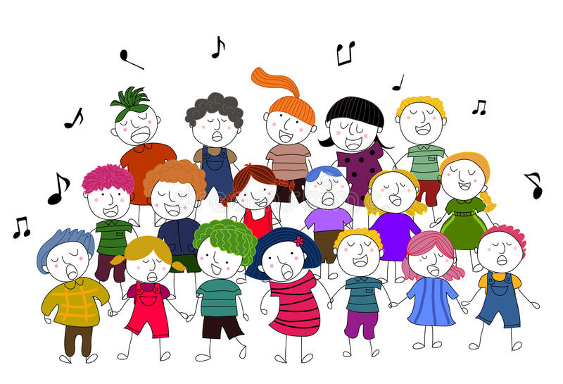 Image result for cartoon many kids singing in choir