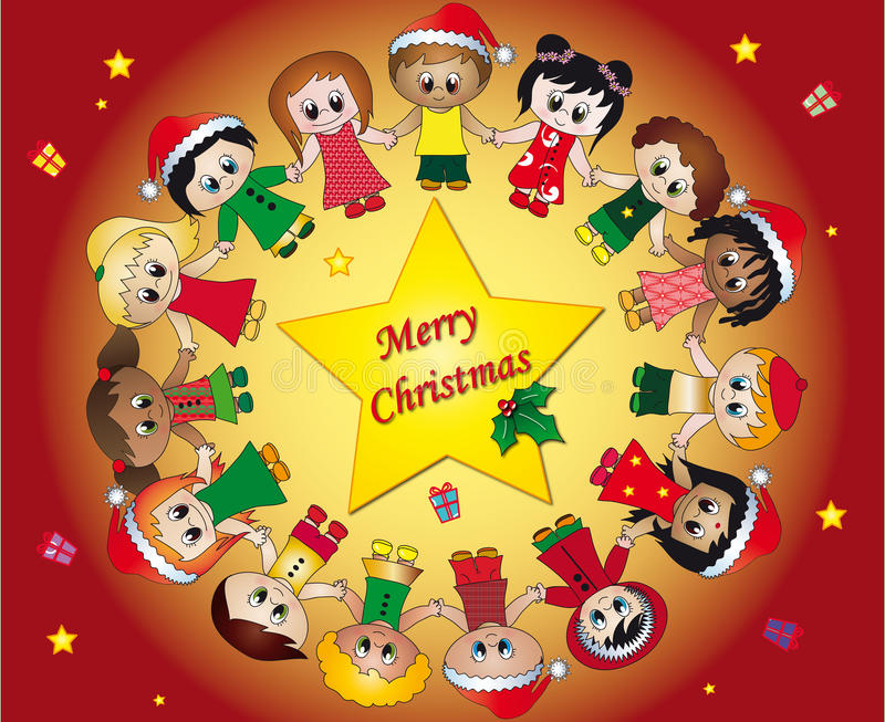 Download Children christmas stock illustration. Illustration of colorful - 16807992