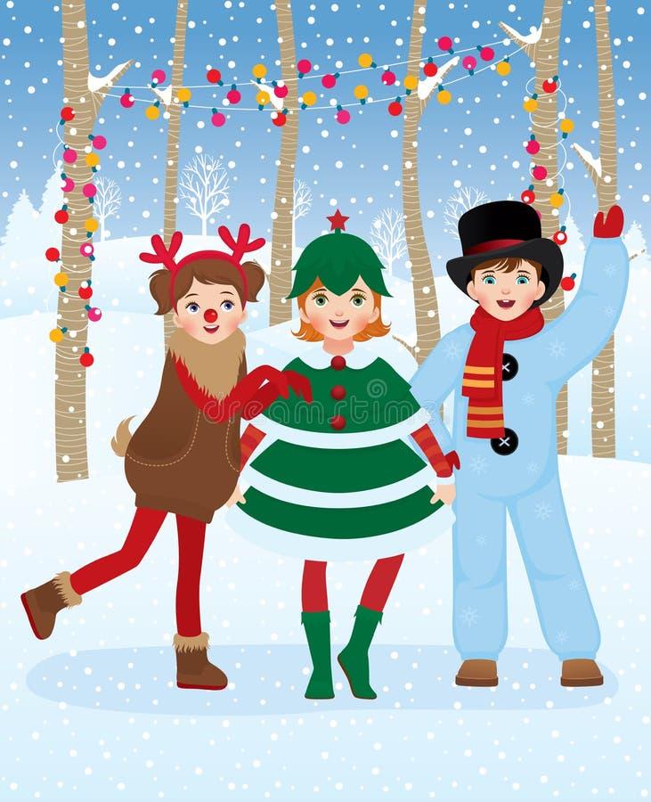 Children in Christmas carnival costumes. Children in carnival costumes Christmas fun outdoors royalty free illustration