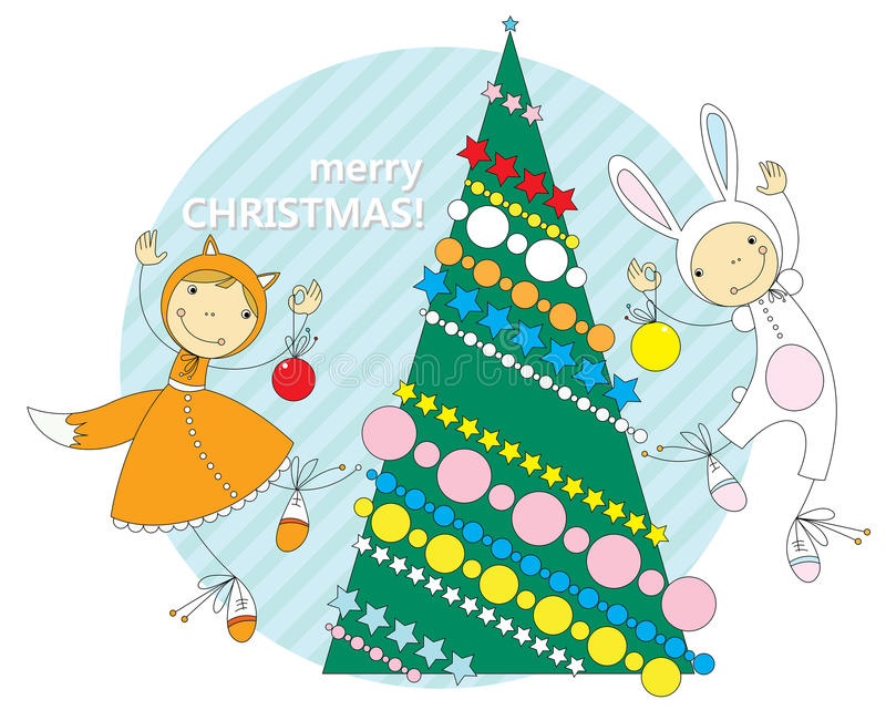 Children in Christmas costumes vector illustration