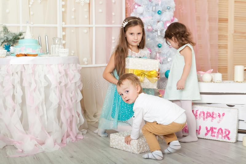 Children in a Christmas decorations royalty free stock photography